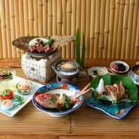【さき楽28】魚も肉も両方食べたい♪ 金目鯛姿煮&アワビ&牛肉陶板焼き!欲張りグルメプラン