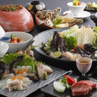 虎魚の姿造り・ちり鍋・姿揚げと神戸牛の極上虎魚づくし会席【お部屋食】
