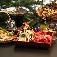 【グレードアップ】夕食をちょっと贅沢に♪メインは「信州産牛しゃぶしゃぶ」!【信州山ごはん&地酒】