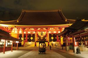 夜の浅草、老舗の味と笑いの殿堂(牛なべ米久と演芸ホール)
