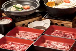 日本四大和牛の神戸牛・松阪牛・米沢牛・近江牛食べ比べ!すき焼き御膳と秘湯ほったらかし温泉