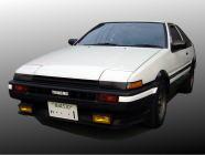すぽるとレンタカーのクラスC(AE86白黒トレノMT)