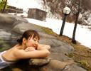 大露天での雪見風呂