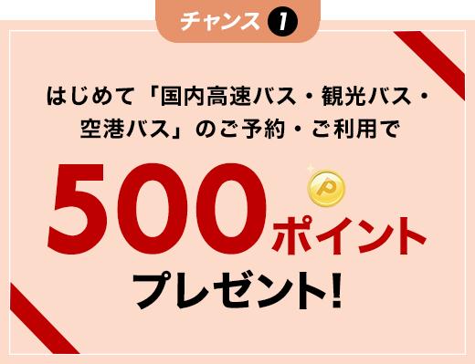 はじめて「国内高速バス・観光バス・空港バス」のご予約・ご利用で500円ポイントプレゼント