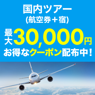国内ツアー 最大30,000円クーポン配布中!